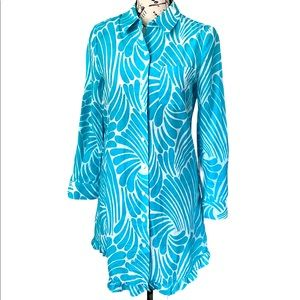 Kate spade teal/white button up longsleeve dress s